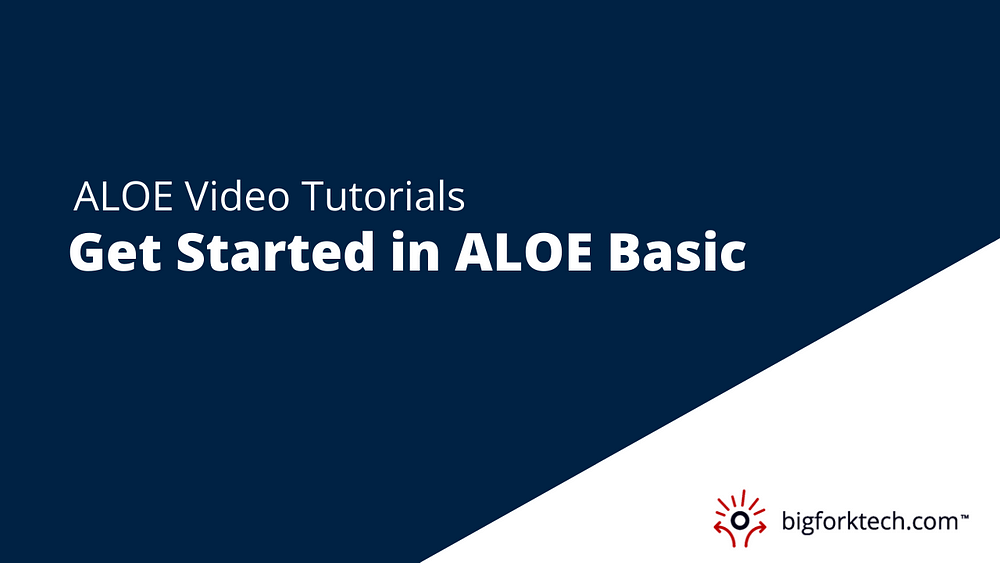 Getting Started in ALOE Basic Image