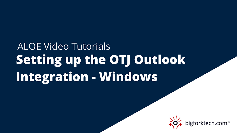 Setting up the OTJ Outlook Integration - Windows Image
