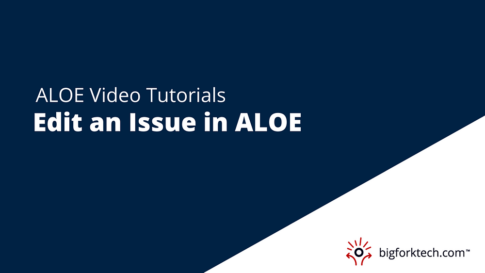 Edit an Issue in ALOE Image