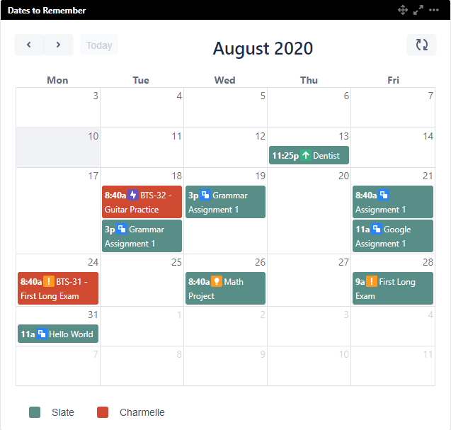 Back to School calendar